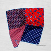 Double sided silk pocket square blue red with ornament (52376)