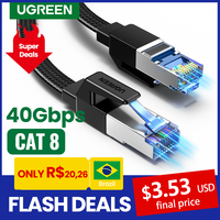 UGREEN Ethernet Cable CAT8 40Gbps 2000MHz CAT 8 Networking Cotton Braided Internet Lan Cord for Laptops PS 4 Router RJ45 Cable 1