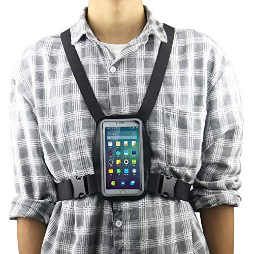 Smartphone Chest Strap Mount Harness + Cell Phone Waterproof Case Holder Compatible All Mobile Phones