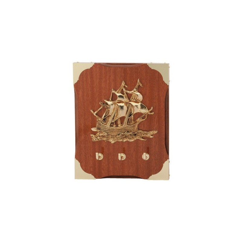 Key Hanger With Sailship On Wall Board 20x25cm