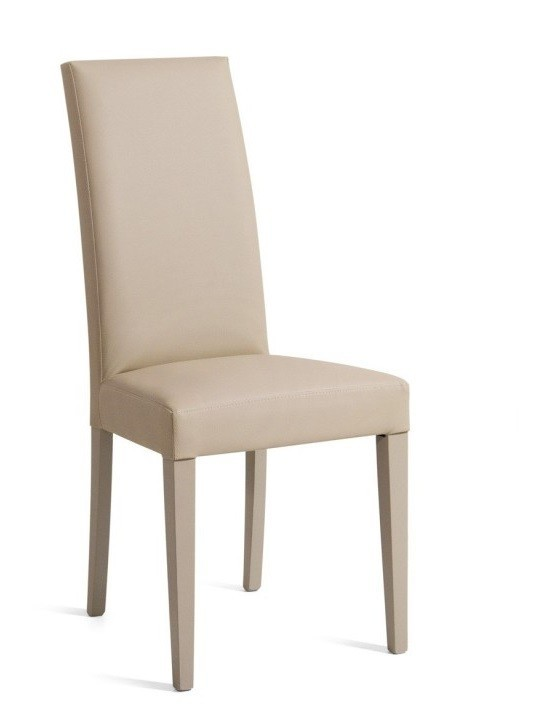 Chair DENNY, Beech Wood, Lacquered And Upholstered Beige