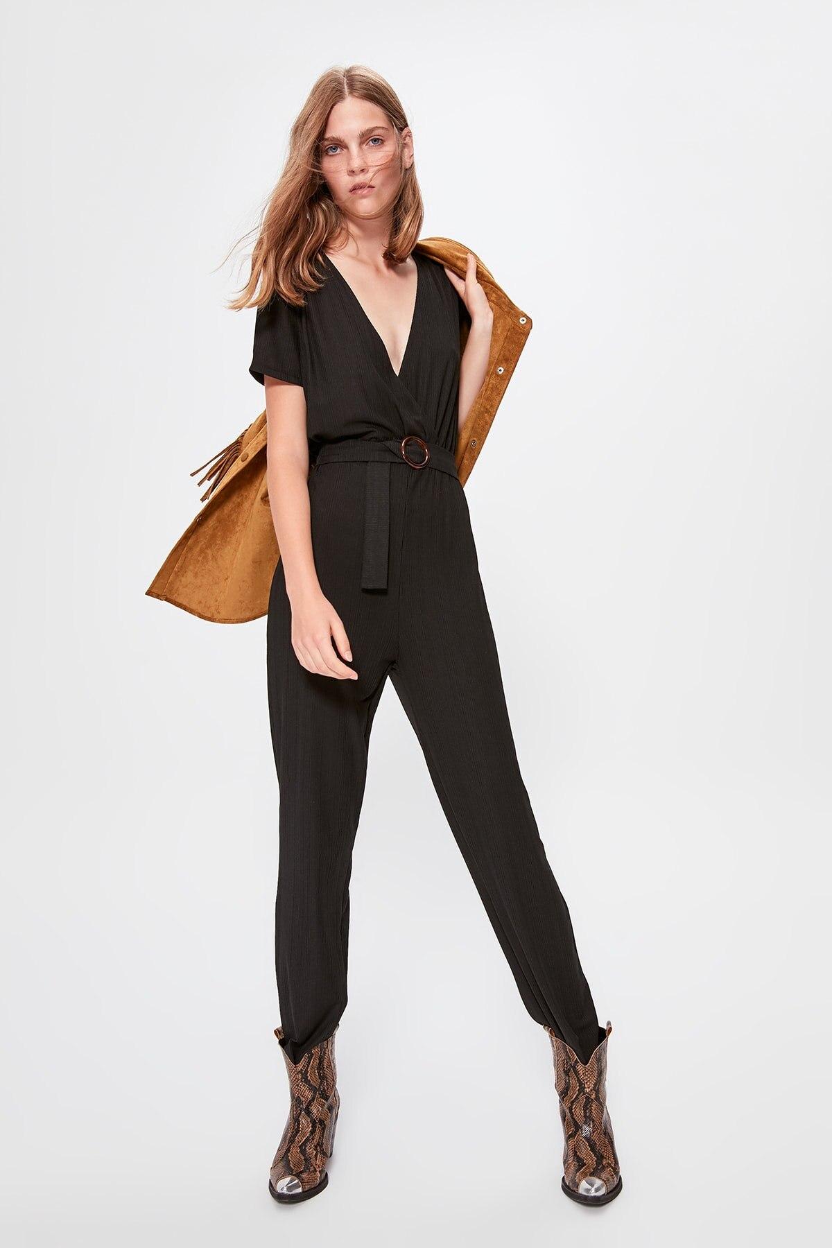 Trendyol Black Knitted Jumpsuit TWOAW20TU0064