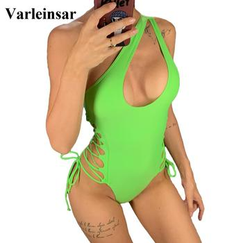 Sexy One Shoulder Lace Up One Piece Swimsuit 2019 Women Swimwear Female Bather Wrap Around Bathing Suit Swim Wear V1408 1