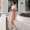 Новые летние джинсовые шорты в Корейском стиле Круглый воротник с буффами на рукавах с завышенной талией платье с короткими рукавами для же...