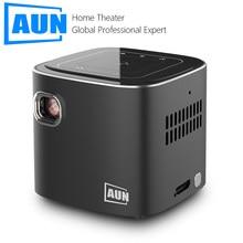 Aun super mini projetor d019 android 7.1 2.4g/5g wifi bluetooth portátil dlp projetor 4k beamer para 3d 1080p cinema em casa