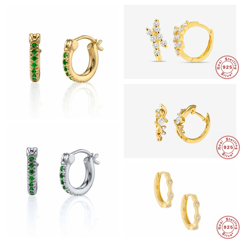 Real 925 Sterling Silver Luxury Green Zircon Small Hoop Earrings For Woman Valentine's Day Gift Hanging Pendientes Fine Jewelry