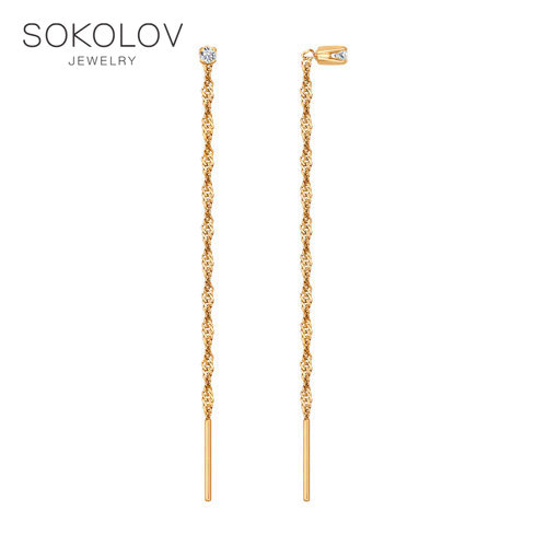 Gold Drop Earrings With Stones With Stones With Stones With Stones With Stones With Stones With Stones With Cubic Zirconia Prodovki SOKOLOV Fashion Jewelry Gold 585 Women's Male