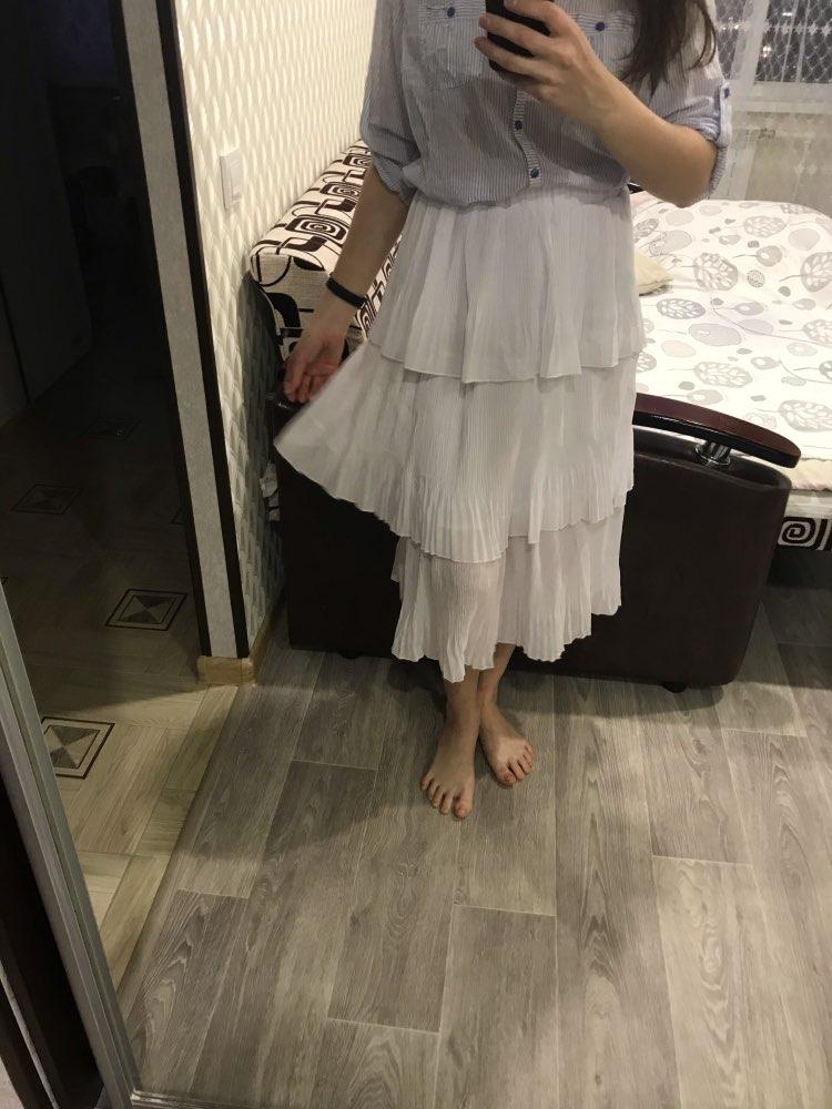 2020 New Summer Solid Layered Skirt Women Fashion High Waist Chiffon Skirt