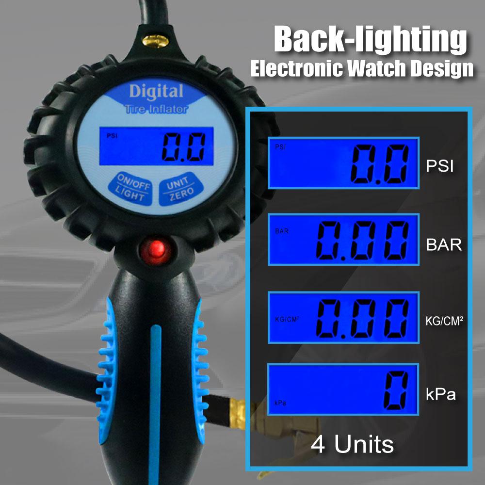 CE Pro Inflador de neumáticos digital con medidor de luz de fondo - Accesorios para herramientas eléctricas - foto 3