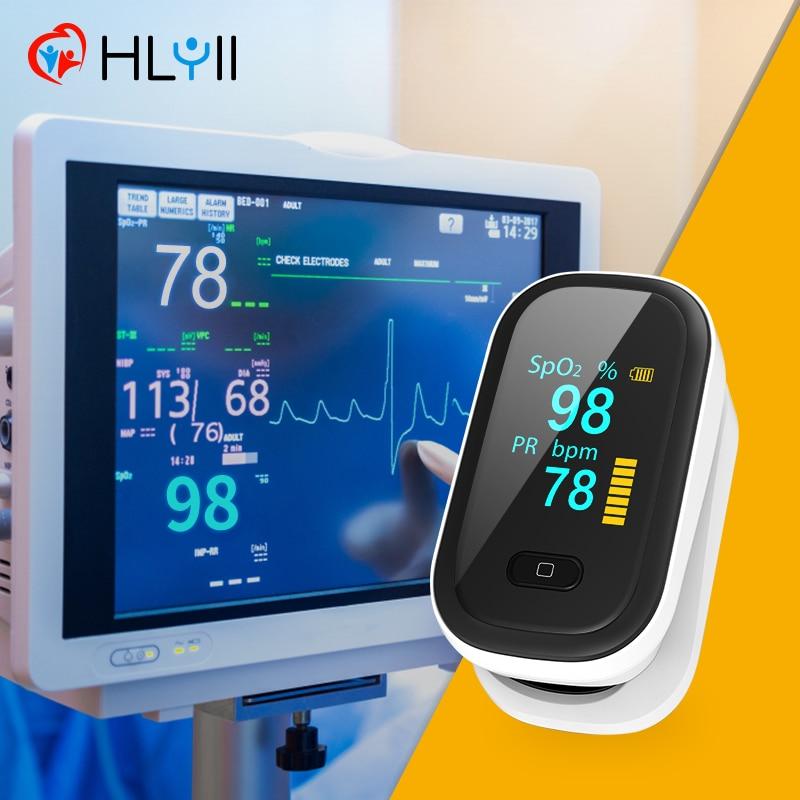Пульсоксиметр профессиональный, прибор для измерения пульса и уровня кислорода в крови, с OLED-экраном пульсоксиметр на палец пульсометр окс...
