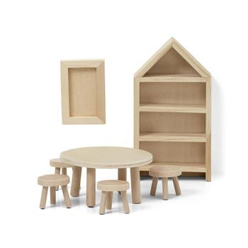Doll House Accessories Lundby  Set of wooden furniture for house DIY Dining Room children toys kids game dolls doll houses bed accessories