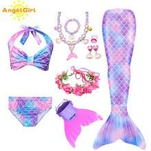 AngelGirl denizkızı kuyruğu doğum günü partisi kostüm çocuklar için denizkızı kuyruğu elbise yaz sahil etek kızın Mermaid mayo