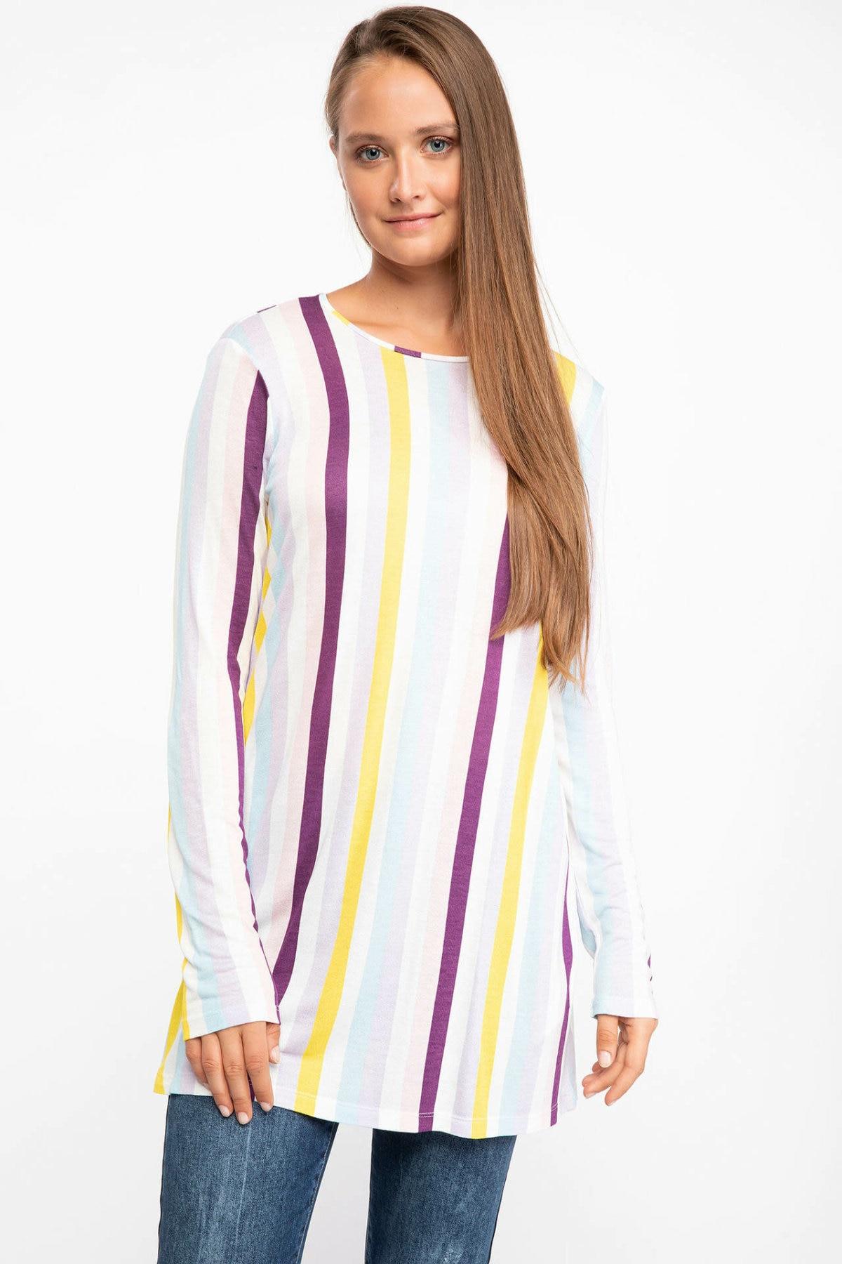 DeFacto Woman White Knitted Colorful Tunic Tops Women Striped Long Top Tees Women Autumn White T-Shirt-J6575AZ18AU