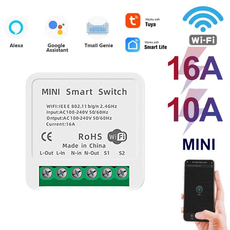 Мини Tuya Wi-Fi для переключателя «сделай сам» поддерживает 16/10A 2 Way Управление Модуль Автоматизации