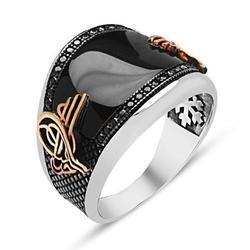 925 sterling Silber Tuğra Modell Onyx Edelstein Ring