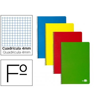 SPIRAL NOTEBOOK PAPERCOP FOLIO COVER EXTRADURA TABLE 80 SHEETS 4 MM WITH MARGIN 70 GR COLORS ASSORTED 6 Units