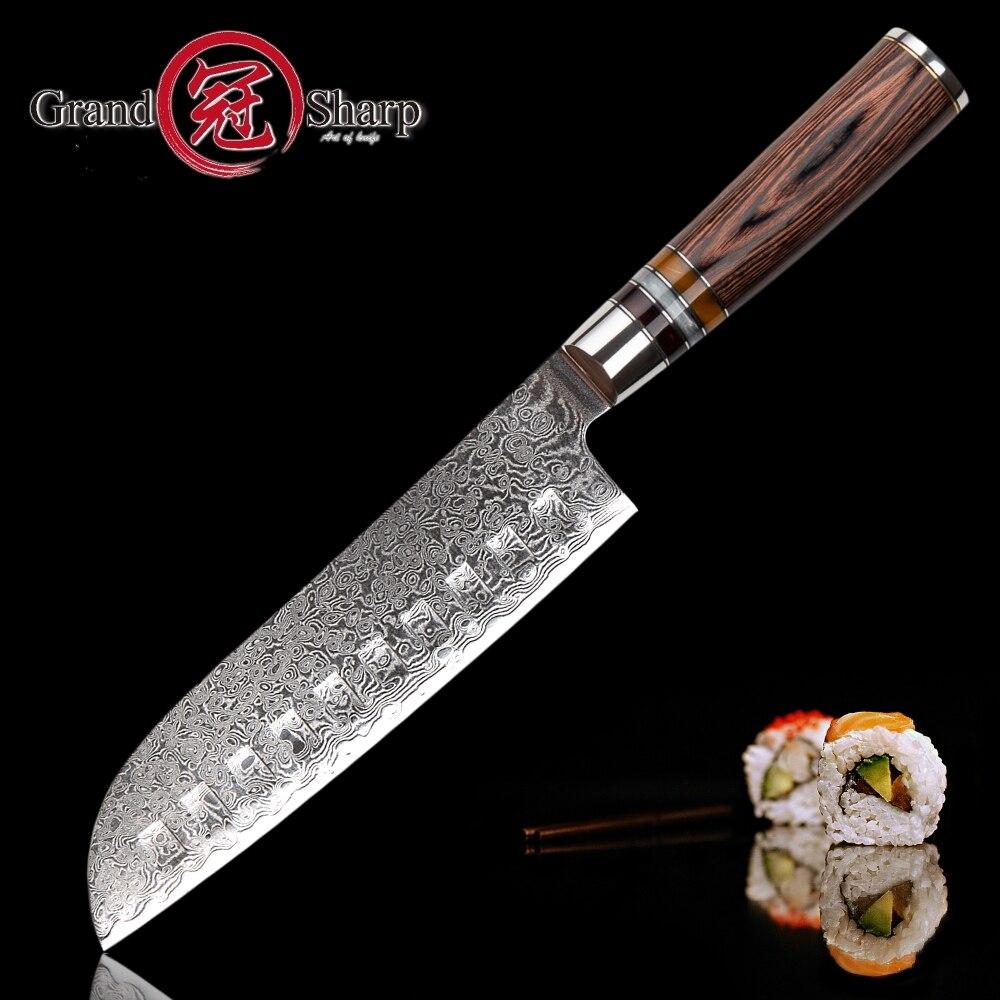 ดามัสกัสมีดครัว Santoku มีดญี่ปุ่นดามัสกัส vg10 เหล็ก 67 ชั้น Professional มีดครัวเชฟเครื่องมือทำอาหาร-ใน มีดครัว จาก บ้านและสวน บน   1