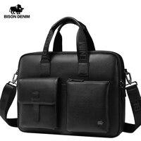 BISON DENIM Brand New Men Bag Genuine Leather Handbag Male 15.6 laptop Briefcase Classic Black Crossbody Shoulder Bag W20043
