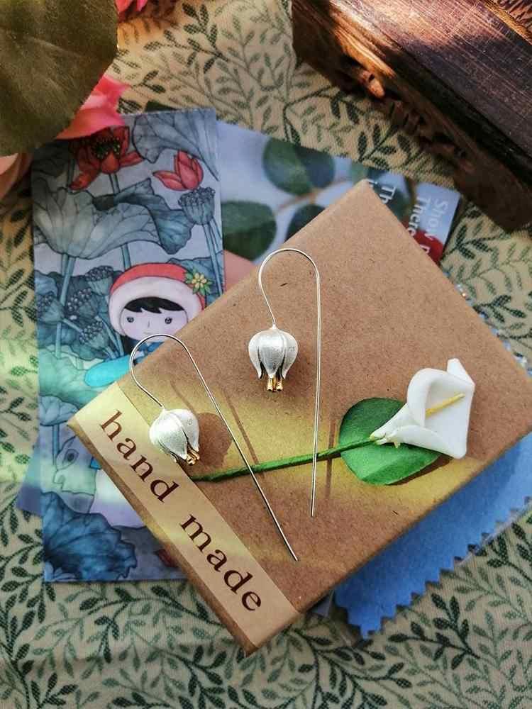 Отзывы о Женские серьги-подвески в виде цветка тюльпана Lotus Fun, Настоящее серебро 925 пробы, ювелирные украшения ручной работы