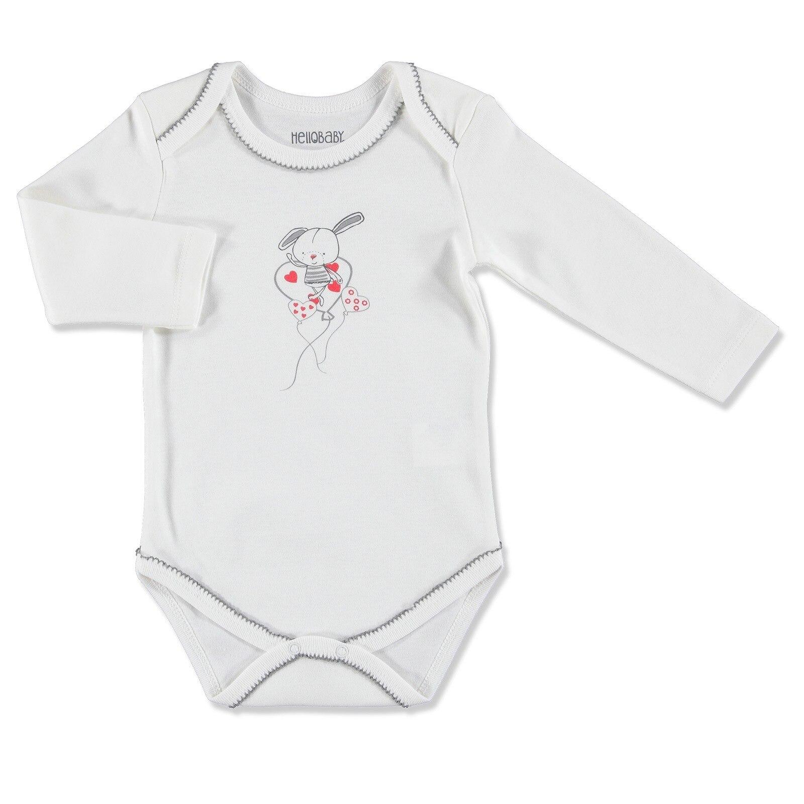 Ebebek HelloBaby Rabbit Theme Collar Long Sleeve Bodysuit