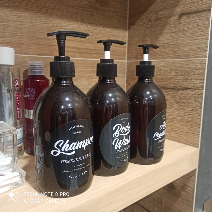 500ml Nordic PET Soap Shower Gel - Refillable Bottles Shampoo and Hair Conditioner Lotion photo review