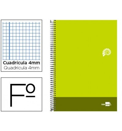 SPIRAL NOTEBOOK LEADERPAPER FOLIO DISCOVER SOFTCOVER 80H 80GSM FRAME 4MM MARGIN LIME GREEN 5 Units