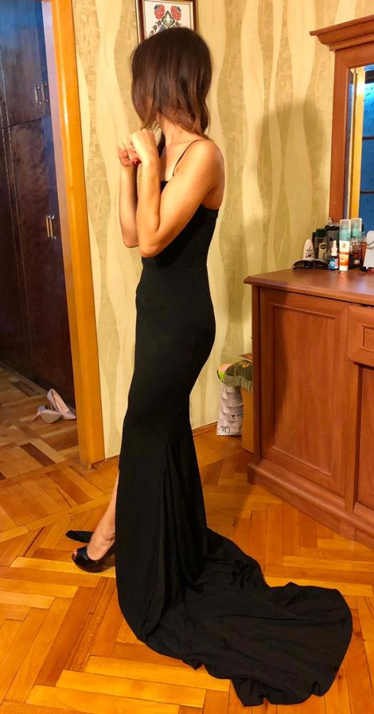 Red Sexy Strapless Padded Stretchy Mermaid Dress Long Split Front Bodycon Black Maxi Dress Floor Length Party Dress photo review