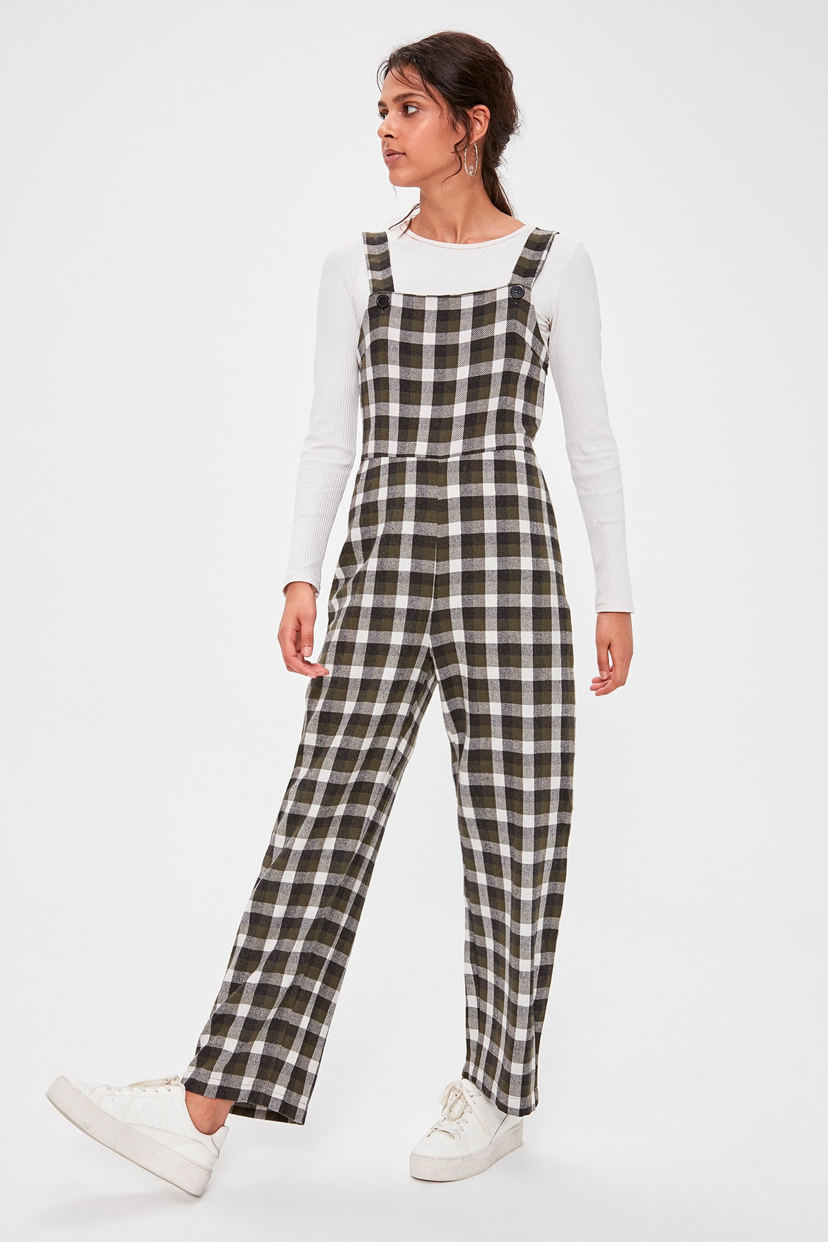 Trendyol Khaki Plaids Jumpsuit TWOAW20TU0073