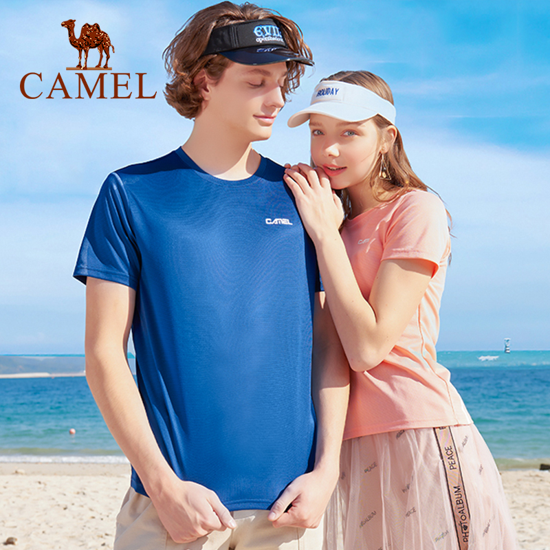 CAMEL Men  Women Outdoor Sportswear Men's T-shirt Women's Tops Unisex Summer Clothes Breathable Running T-shirt
