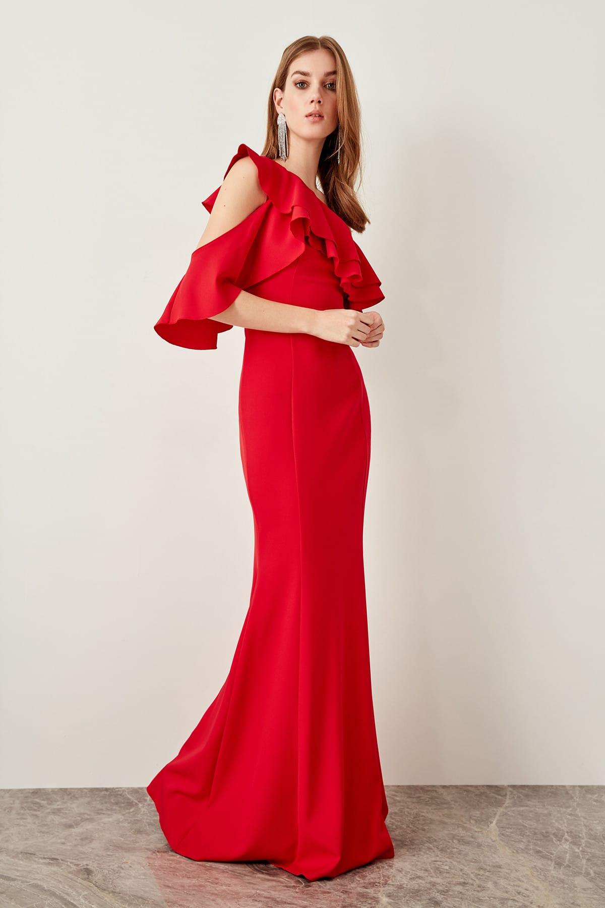 Trendyol Sleeve Detail Flounces Evening Dress TPRSS19FZ0190