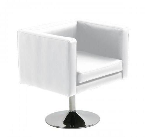 Armchair ALOR, Chrome Finish, Upholstered White