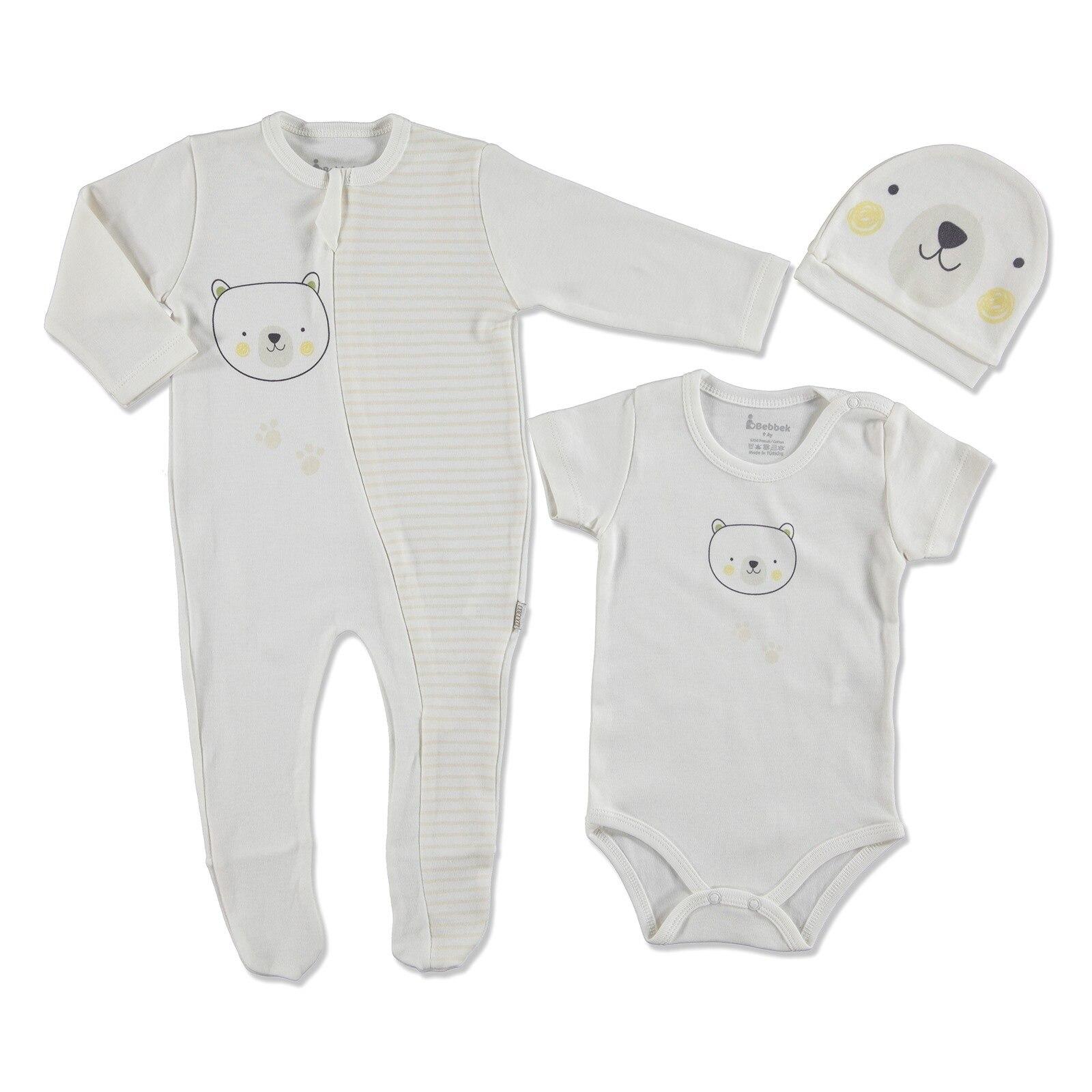 Ebebek Bebbek Summer Baby Boy Bear Scoot Romper Bodysuit Hat 3 Pcs Set