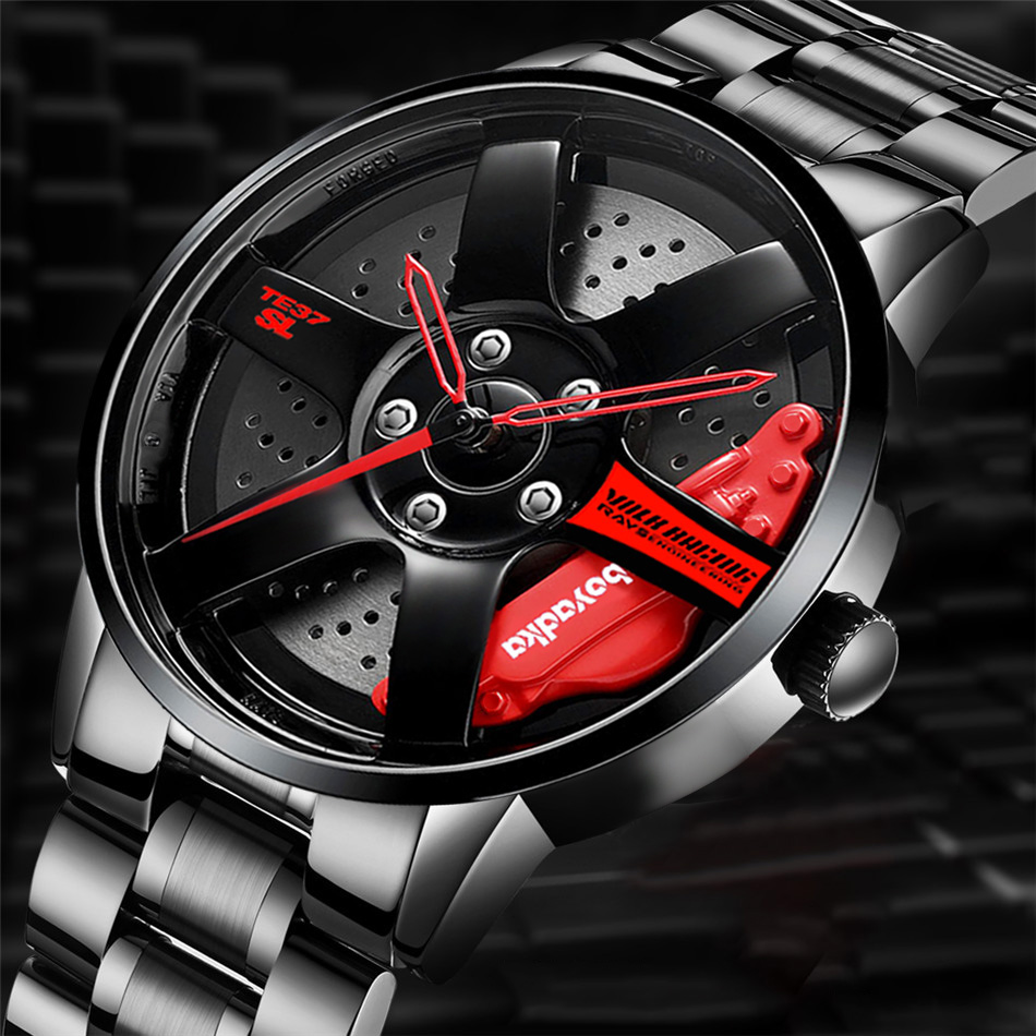 Watches Men Wristwatch Clock Men's Wheel Rim Hub Watch Sport Car Custom Design Creative Men Wrist Watch Relogio Masculino