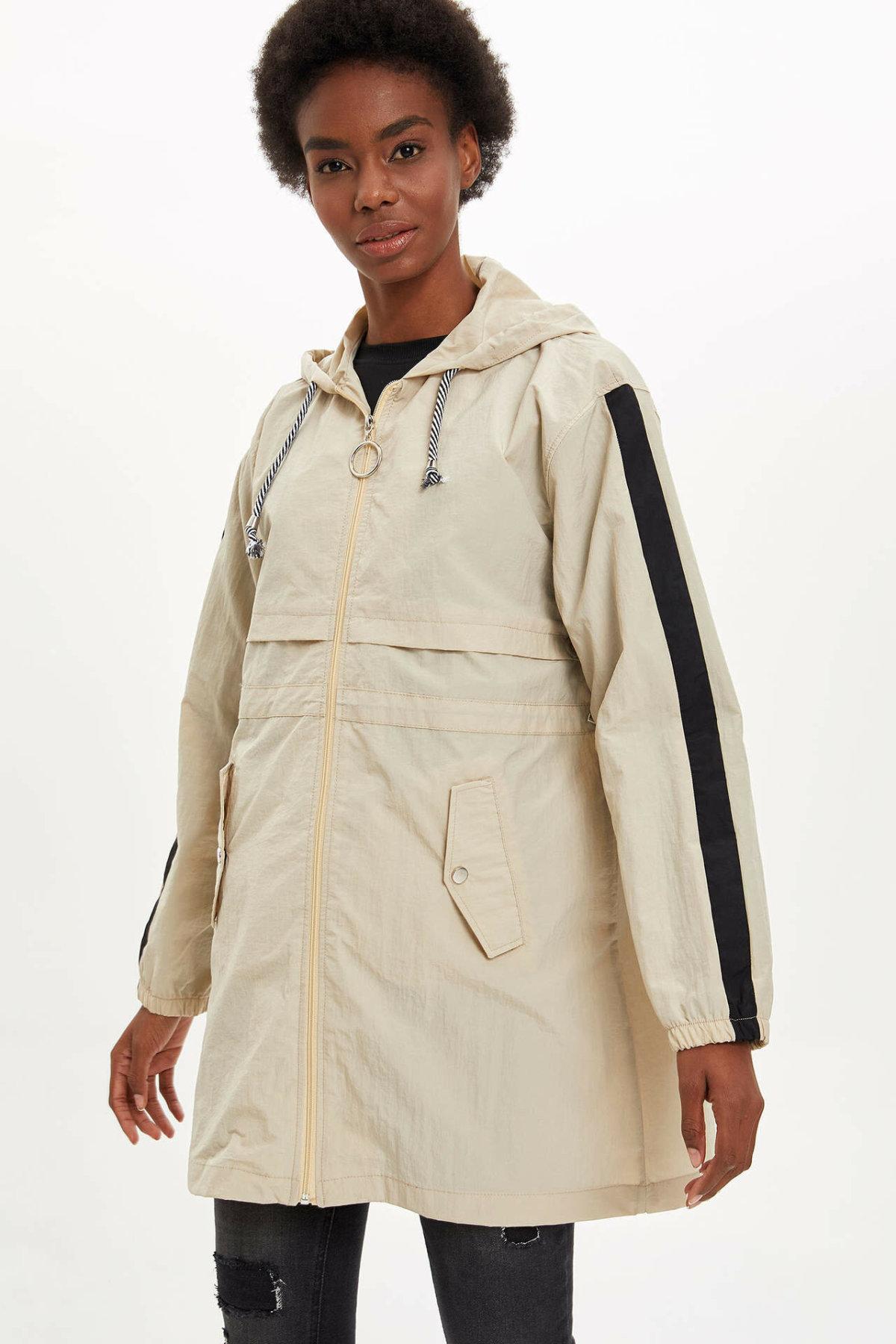 DeFacto Fashion Woman Hooded Solid Loose Coat Female Zipper Jackets For Women's Sportcoats Autumn Ladies - M7891AZ19AU