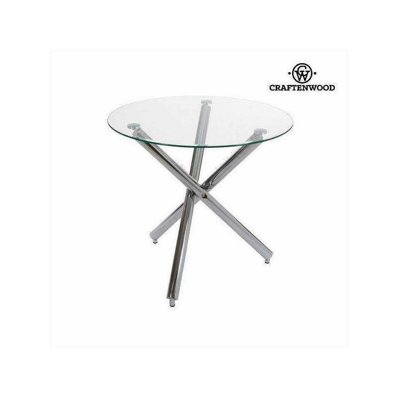 Round Table Stainless Steel Tempered Glass (90x75x73 Cm By Craftenwood