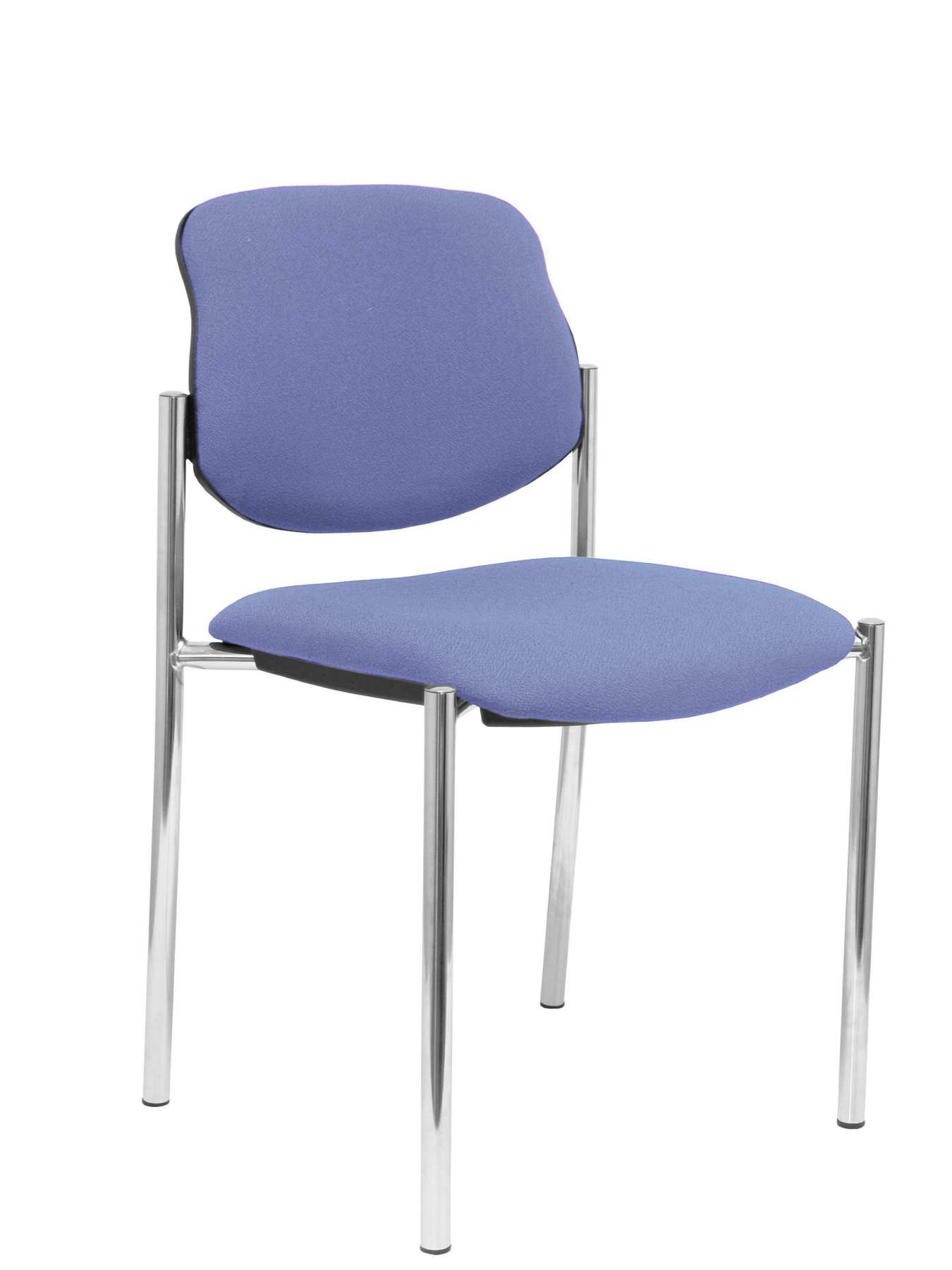 Confident Chair 4-leg And Estructrua Chrome Seat And Back Upholstered In Fabric BALI Light Blue PIQUERAS