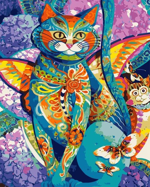 Painting By Numbers Flower Cat, 40x50 Cm