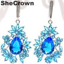 47x23mm Fancy Big Paris Blue Topaz Natural White CZ Ladies Gift For Ladies Silver Earrings