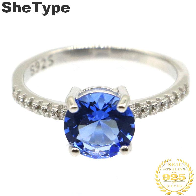 8c8mm 10.25# 2.1g Created Round Shape Rich Blue Violet Tanzanite Gift For Girls 925 Solid Sterling Silver Rings