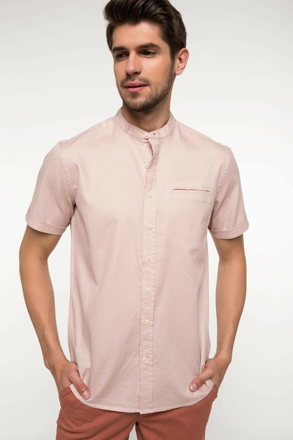 DeFacto Man Fashion Short Sleeve Shirt Male Casual Loose Comfort Tops Men's Pure Color High Quality Shirts Summer - I3800AZ18SM