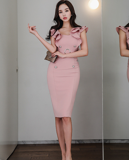 2021 summer women's dress, Korean version, slim fit, ruffle, double breasted, buttocks, thin, medium and long bottomed dress 4