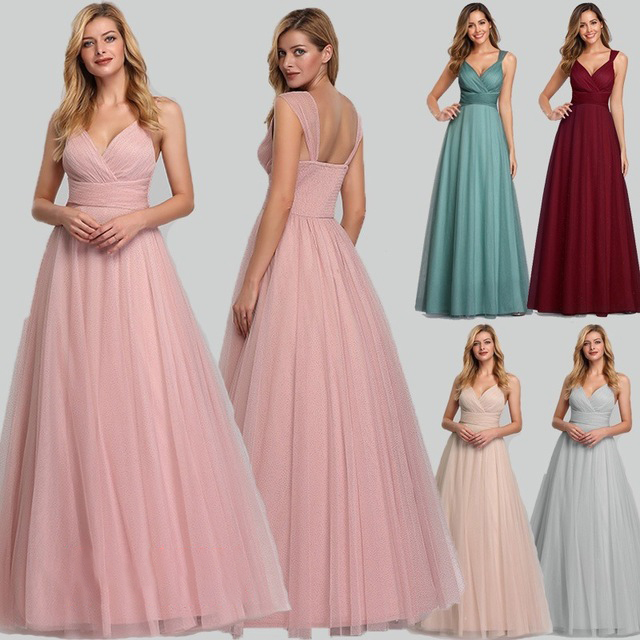 Long Dress Straps Bridesmaid-Dresses Special-Occasion Sleeveless Sweet V-Neck Floor-Length title=