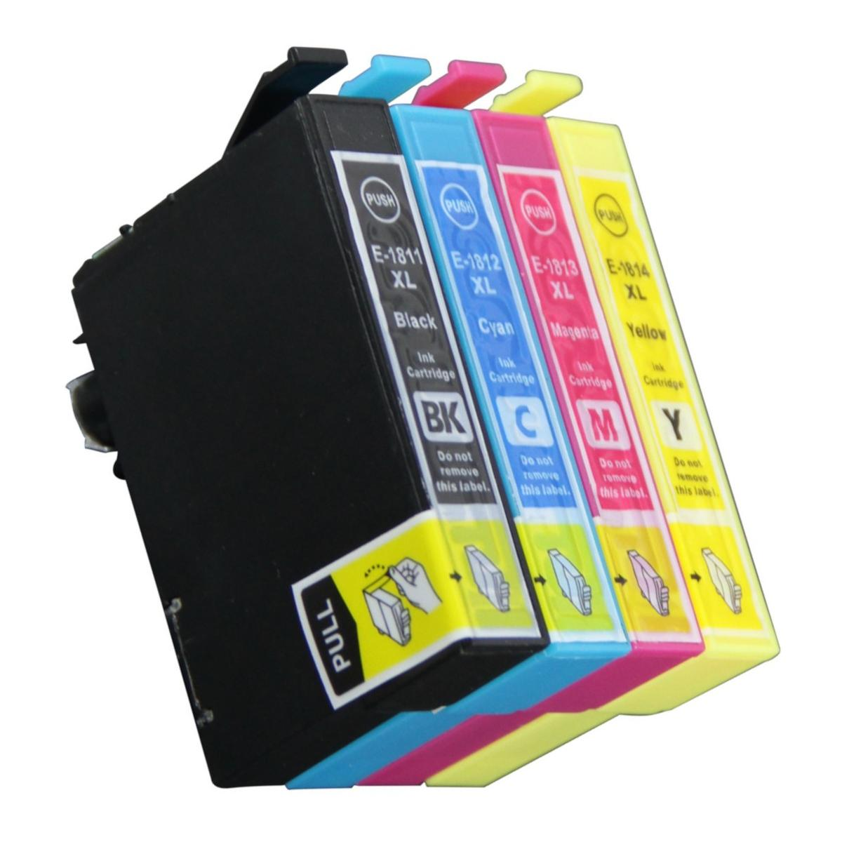 4 Ink Cartriges T18XL Model T 18XL T1811 T1812 T1813 T1814 Compatible With Epson Printers XP405W XP312 XP412 Xp313 Xp413