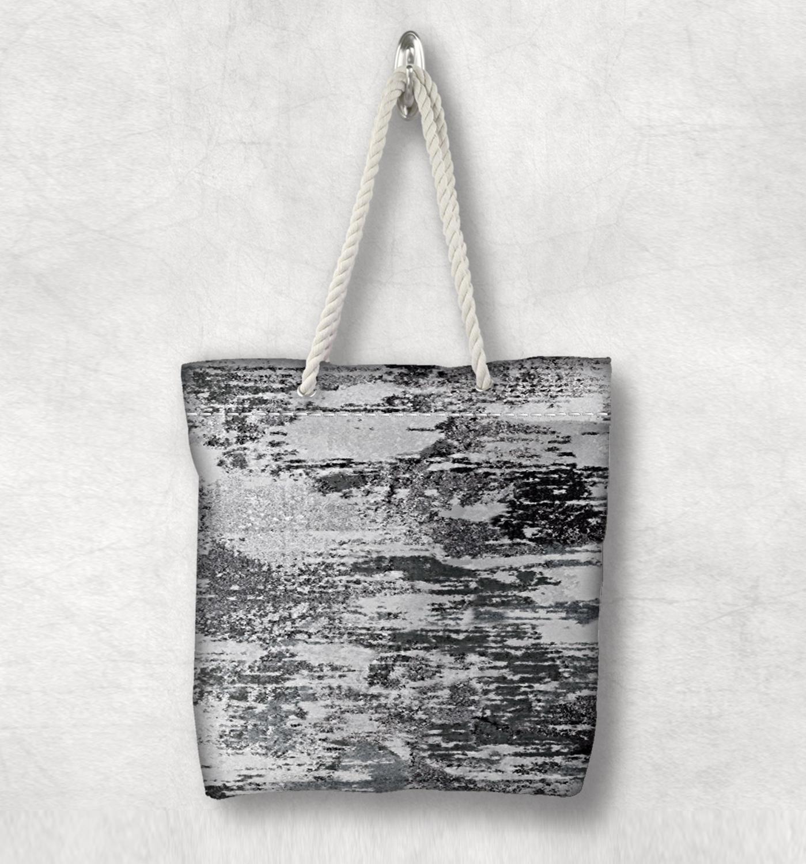 Başka bir siyah gri soyut suluboya boya yeni moda beyaz halat kolu kanvas çanta pamuk tuval fermuarlı Tote çanta omuzdan askili çanta