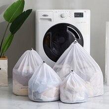 Nova chegada poliéster drawstring saco de roupa folhas máquina lavar roupa saco redondo cordão bolso para lavar roupa