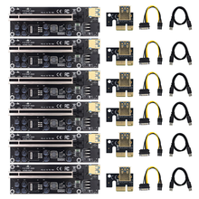 6 To 10pcs VER009 USB3.0 PCI-E Riser VER 009S PLUS Express 1X 4x8x 16x Extender pcie Riser Adapter Card SATA 15pin to 6pin Power