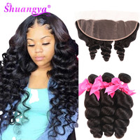 Malaysian Loose Wave Bundles With Frontal Transparent Lace Frontal With Bundles Remy Bundles With Frontal Hair extension