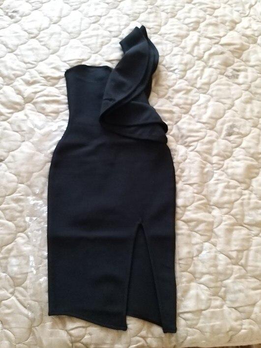 Summer Women Bandage Dress Celebrity Evening Party Dresses Sexy One Shoulder Ruffles Bodycon Club Dress Vestidos photo review