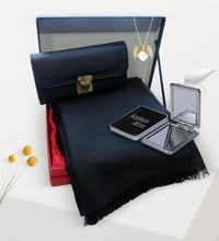 Women Custom Is Gold Angel Wing Necklace Mirror Black Wallet Shawl Gift Set()