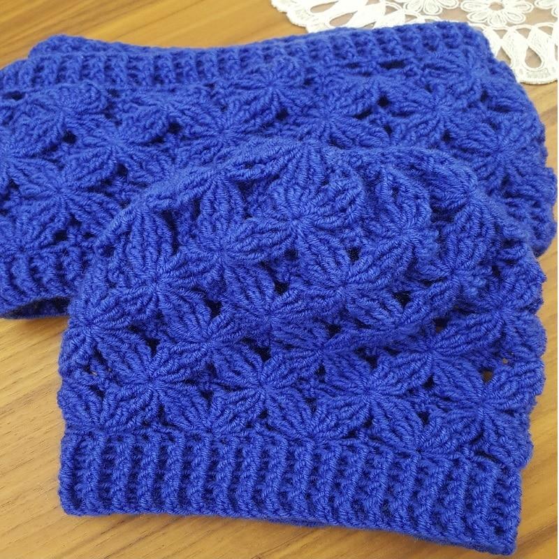 Beanie Cowl Set Women Lady Girls Hat Shawl Cap Winter Knitted Handmade Bonnet Autunm